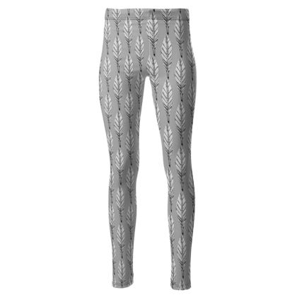 Black and White Feather High Waisted Leggings