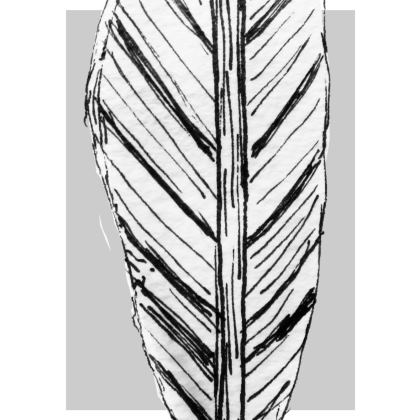 Black and White Feather Slim Fit Mens T-Shirt