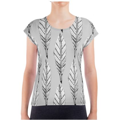 Black and White Feather Ladies T-Shirt