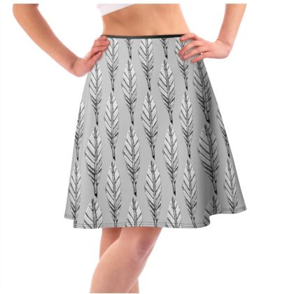 Black and White Feather Flared Skirt