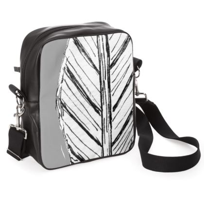 Black and White Feather Shoulder Bag