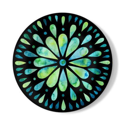 Mandala Art Aqua Illustration Decorative Plate