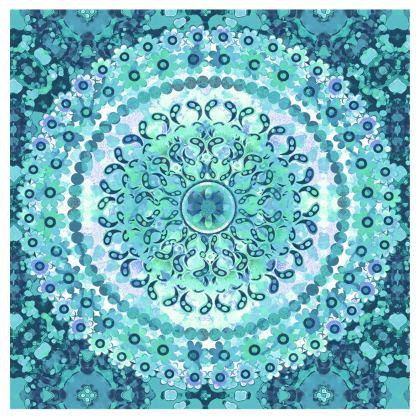 Aqua Mosaic Mandala Handbags
