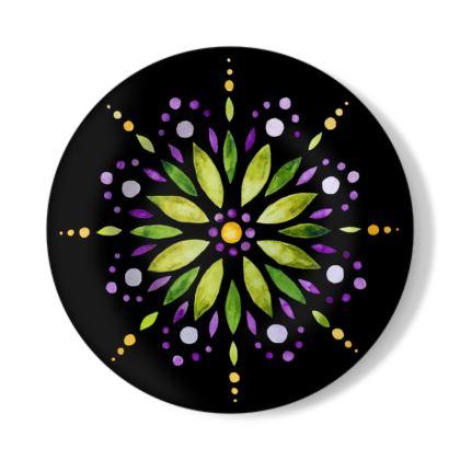 Mandala Art Chartreuse Green and Purple Illustration Decorative Plate