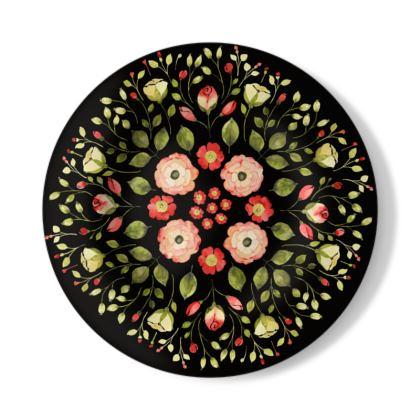 Flower Elation Art watercolor Illustration Decorative Plate