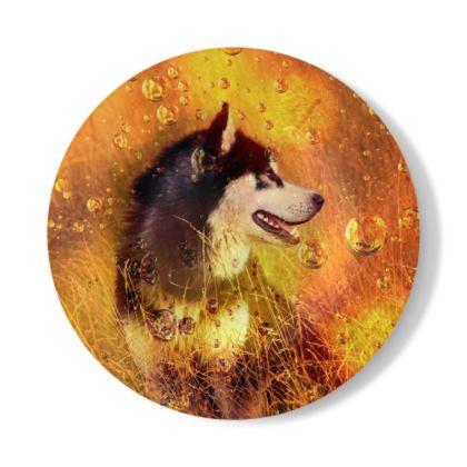 Husky Illustration Decorative Plate
