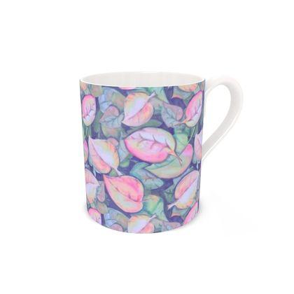 Bone China Mug, Pastel Leaves