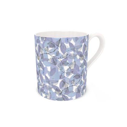 Bone China Mug, Blue Leaves