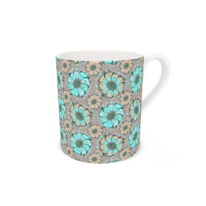 Teal Anemone Bone China Mug