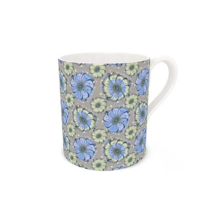 Blue Anemone Bone China Mug