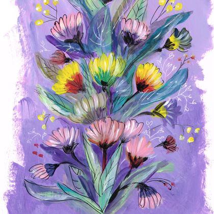Ladies Lilac Chrysanthemum floral T Shirt