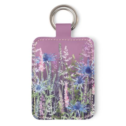 Fairytale Sunset Meadow Leather Keyring