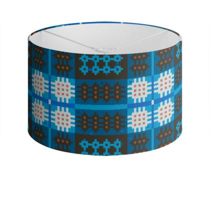 Blue and Brown Drum Lamp Shade