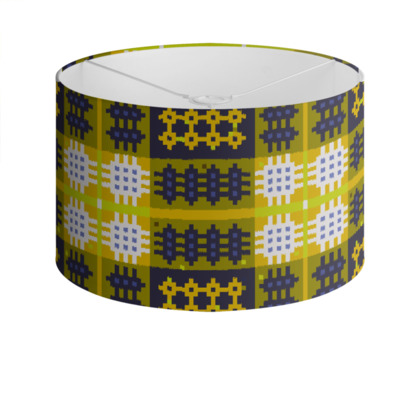 Mustard and Violet Drum Lamp Shade
