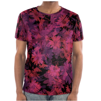 Mens T-shirt - Daisy flowers in Pink on Black