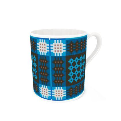 Large Blue, Black and Brown Bone China Mug