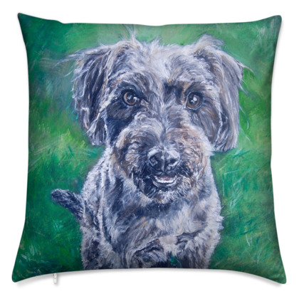 Poppy the Jack-a-Poo Luxury Fine Art Cushion Cover by Somerset (UK) Artist Amanda Boorman