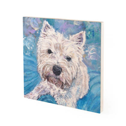 Millie the West Highland Terrier Fine Art Vintage Style Wood Print by Somerset (UK) Artist Amanda Boorman