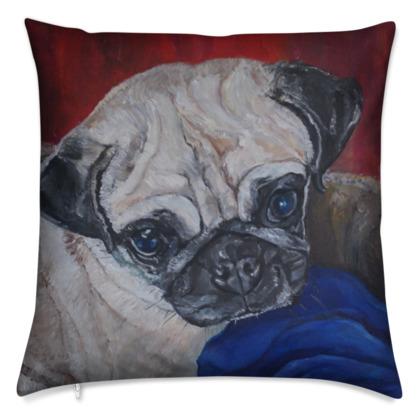 PUGLY the PUG Luxury Fine Art Cushion Covers by Somerset (UK) Artist Amanda Boorman