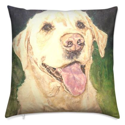 Biscuit the Golden Labrador Retriever Luxury Fine Art Cushion Cover by Somerset (UK) Artist Amanda Boorman