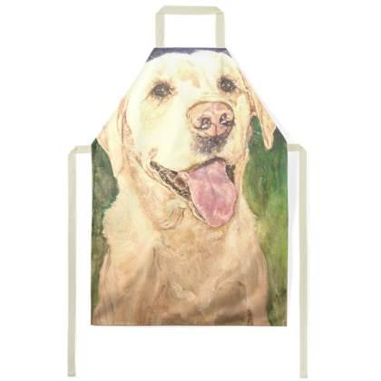 Biscuit the Golden Labrador Retriever Luxury Fine Art Apron by Somerset (UK) Artist Amanda Boorman