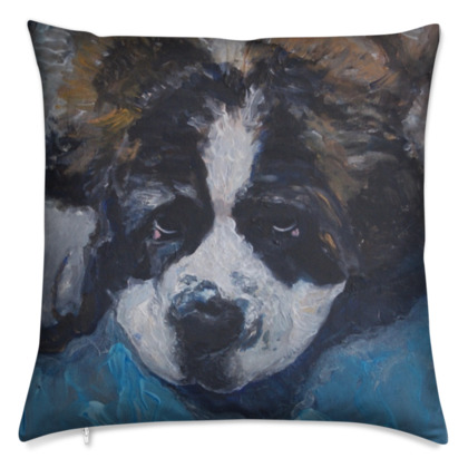 Mr Monkie Puzzle the Saint Bernard Luxury Fine Art Cushion Cover by Somerset (UK) Artist Amanda Boorman