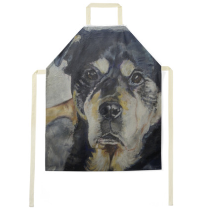 Xena the Rottweiler Luxury Fine Art Apron by Somerset (UK) Artist Amanda Boorman