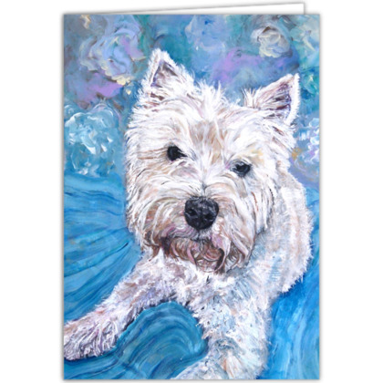 Personalised Millie the West Highland Terrier Fine Art Occasions Card by Somerset (UK) Artist Amanda Boorman