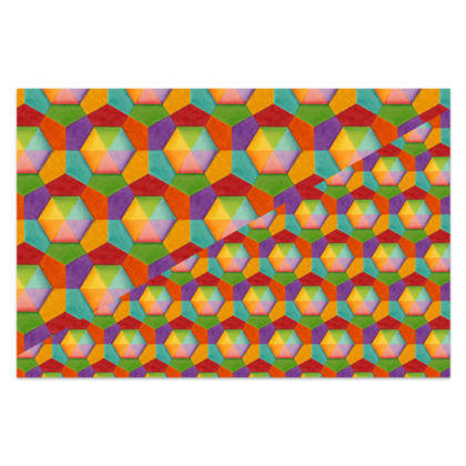 Rainbow Hexagons Sarong