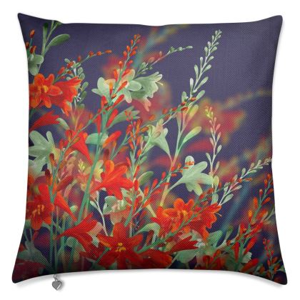 Midnight Montbretia Luxury Cushion