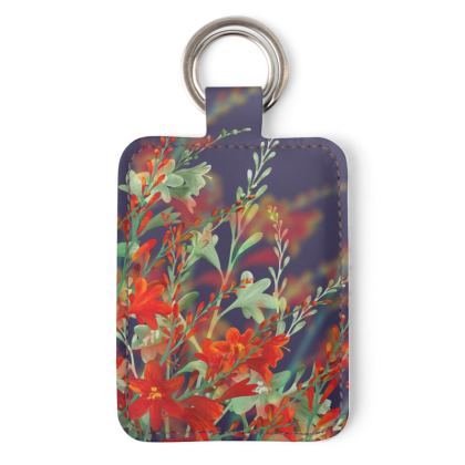 Midnight Montbretia Leather Keyring