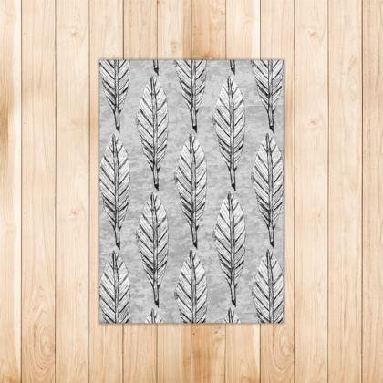 Black and White Feather Small Rug 90 X 63cm