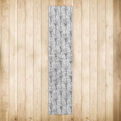 Black and White Feather Long Runner Rug 290 X 63cm