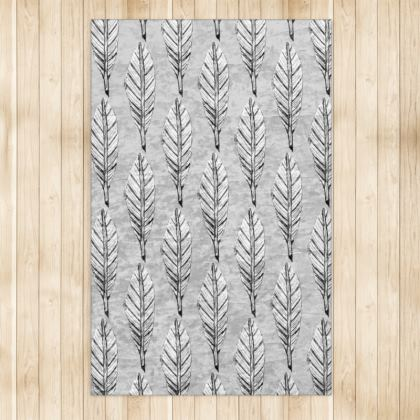 Black and White Feather Large Rug 128 X 200cm