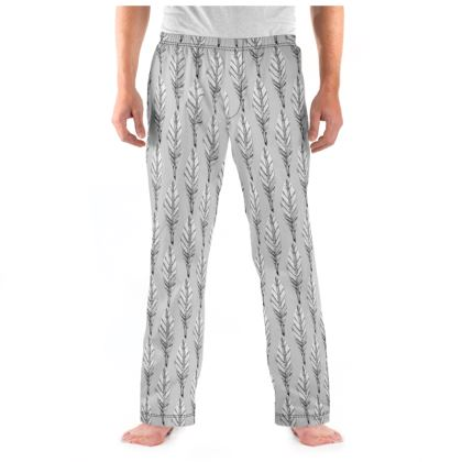 Black and White Feather Mens Pyjama Bottoms