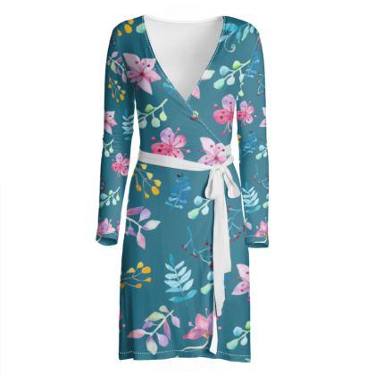 Blue Flower Garden Wrap Dress