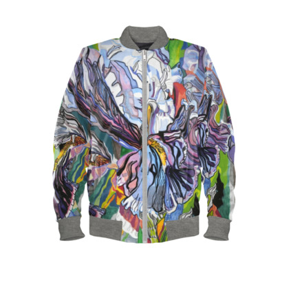 Iris Floral Ladies Bomber Jacket