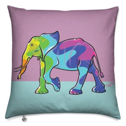 COMMIC Africa double header cushion - Elephant/Hippo