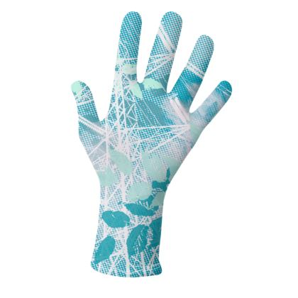 2 PAIRS PACK - Gloves / Floral and leaves Blue&Pink