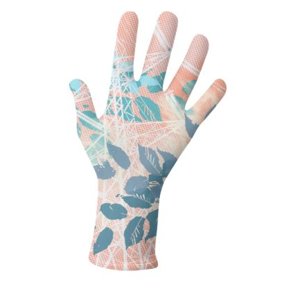 2 PAIRS PACK - Gloves / Floral and leaves Salmon & Purple