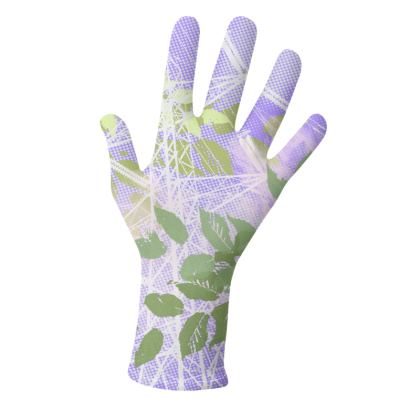 2 PAIRS PACK - Gloves / Floral and leaves Purple and Pink