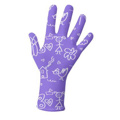 Gloves - Doodles in Purple