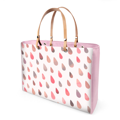 Rainbow Raindrops, Pink - Leather Handbags