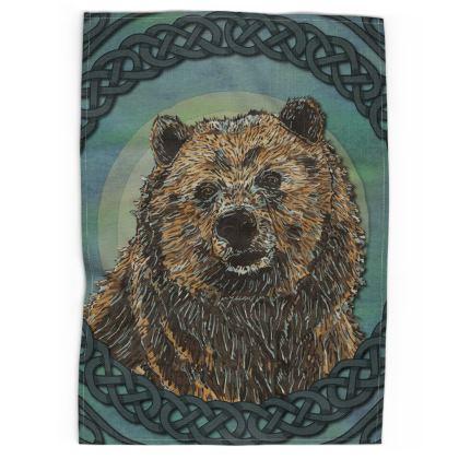 Celtic Brown Bear Tea Towel