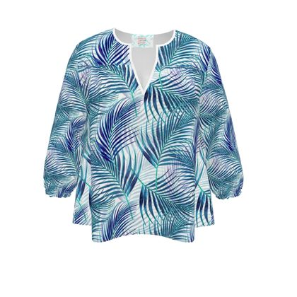 Tropical Garden in blue Collection Womens Blouse