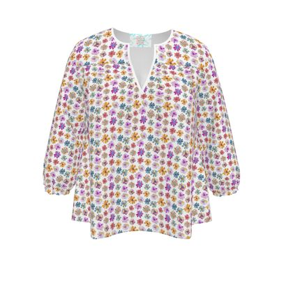 Rainbow Daisies on white Collection Womens Blouse