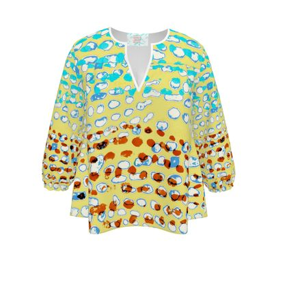 Textural Collection in beige and turquoise Womens Blouse