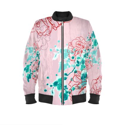 Bomber Jacket / Almond Florals in Pink