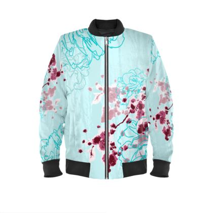 Bomber Jacket / Almond Florals in Turquoise