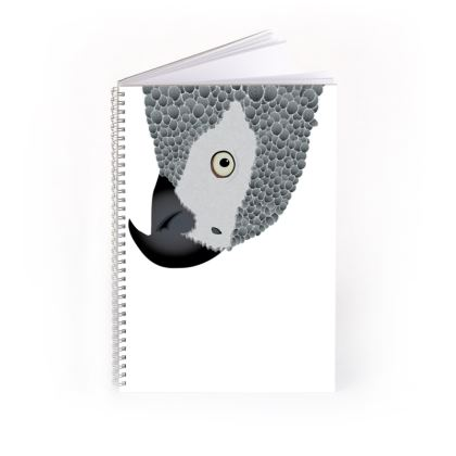 Cheeky African Grey Parrot [WHITE] Spiral Notebook